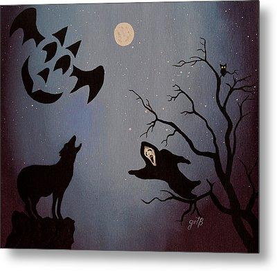 Halloween Night Party Original Painting Placemat Doormat Metal Print by Georgeta  Blanaru