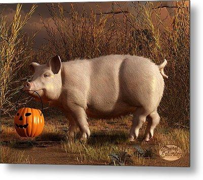 Halloween Pig Metal Print by Daniel Eskridge