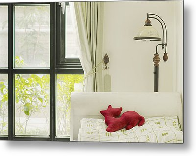Hand Made Doll On The Pillow Of The Bed Metal Print by Lawren Lu