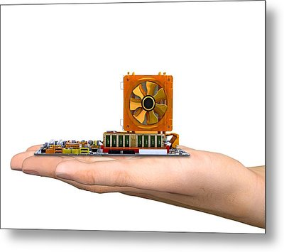 Hand With Computer Motherboard, Artwork Metal Print by Pasieka