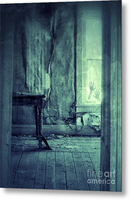 Hands On Window Of Creepy Old House Metal Print by Jill Battaglia
