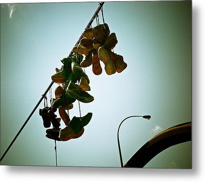 Hanging Out On A Wire Metal Print by Michael Knight