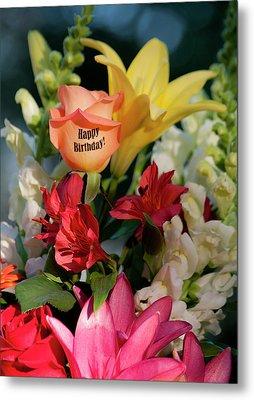 Happy Birthday Flowers - Portrait Metal Print by ShaddowCat Arts - Sherry