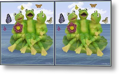 Happy Frogs - Gently Cross Your Eyes And Focus On The Middle Image Metal Print by Brian Wallace