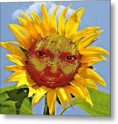 Happy Sunflower Metal Print by Susan Leggett