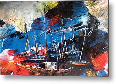 Harbour In Spain Metal Print by Miki De Goodaboom