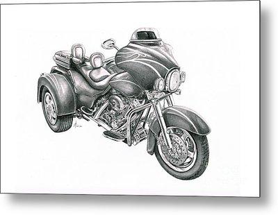 Harley Davidson Trike Metal Print by Murphy Elliott