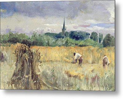 Harvest Field At Stratford Upon Avon Metal Print by John William Inchbold