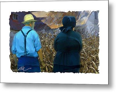 Harvesting The Corn Metal Print by Bob Salo
