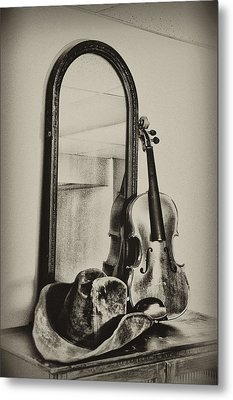 Hat And Fiddle Metal Print by Bill Cannon
