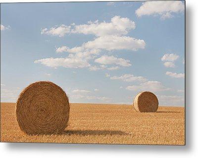 Hay Barrels In Burgundy Region Metal Print by Niall Sargent