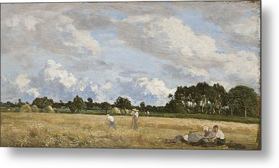 Haymaking Metal Print by Eugene Louis Boudin