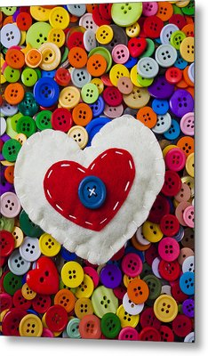 Heart Buttons Metal Print by Garry Gay