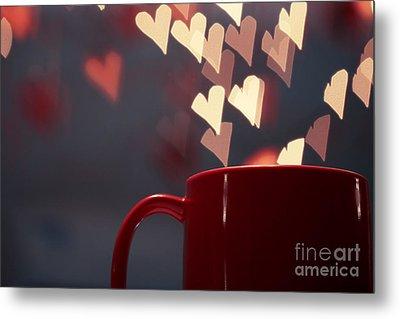 Heart In My Cup Of Coffee Metal Print by Soultana Koleska
