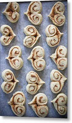 Heart Shaped Cinnamon Buns Metal Print by Helena Schaeder Söderberg