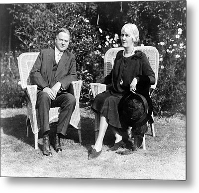 Herbert Hoover Seated With His Wife Metal Print by International  Images