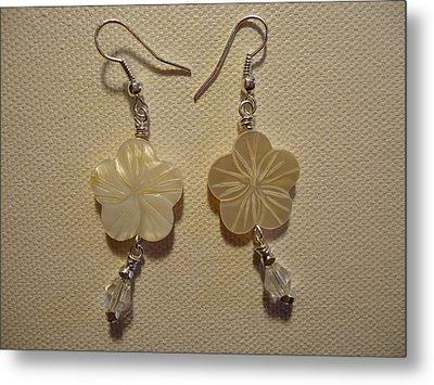 Hibiscus Hawaii Flower Earrings Metal Print by Jenna Green