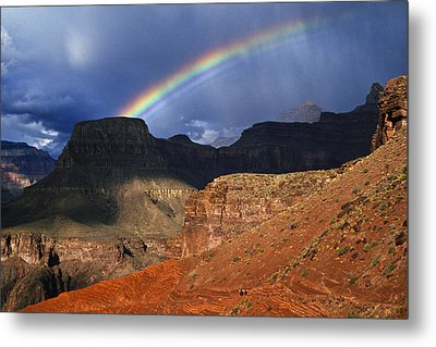 Hikers And Rainbow Kaibab Trail, Grand Metal Print by Ralph Lee Hopkins