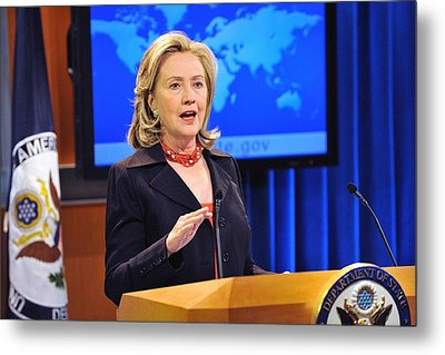 Hillary Clinton Speaking Metal Print by Everett