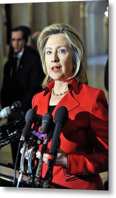 Hillary Clinton Speaking To The Press Metal Print by Everett