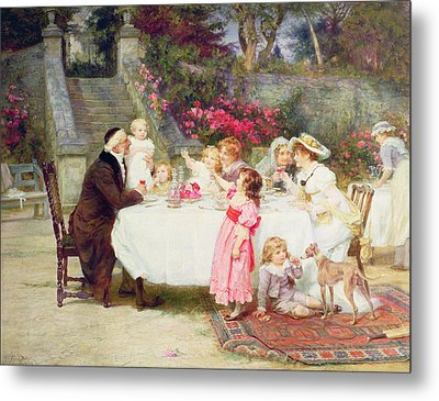 His First Birthday Metal Print by Frederick Morgan
