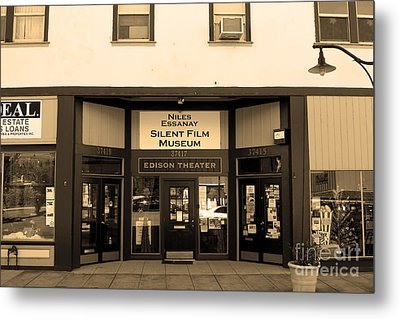 Historic Niles District In California Near Fremont . Niles Essanay Silent Film Museum.7d10683.sepia Metal Print by Wingsdomain Art and Photography