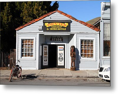 Historic Niles District In California.motorized Bike Outside Devils Workshop And Mercantile.7d12727 Metal Print by Wingsdomain Art and Photography