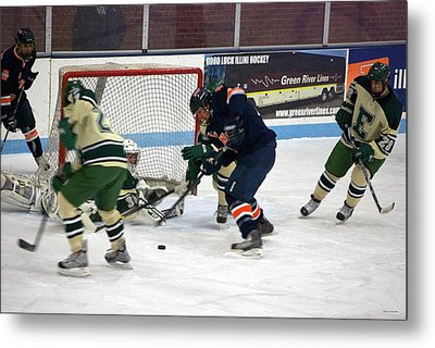 Hockey One On Four Metal Print by Thomas Woolworth