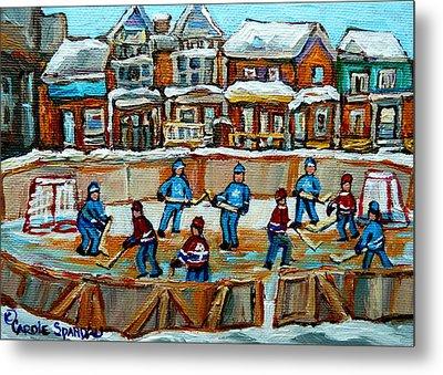 Hockey Rink Montreal Street Scene Metal Print by Carole Spandau