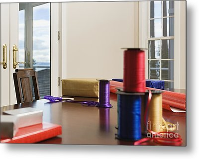 Holiday Ribbon On Table Metal Print by Andersen Ross