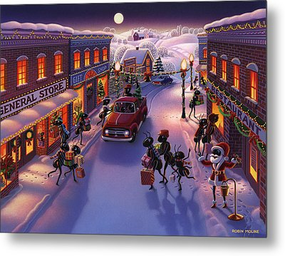 Holiday Shopper Ants Metal Print by Robin Moline