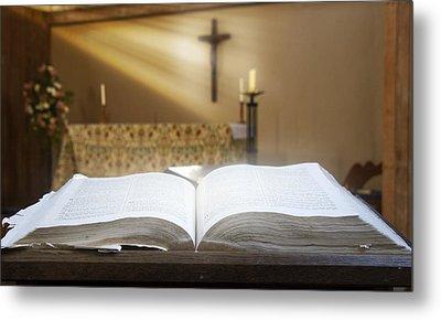Holy Bible In A Church Metal Print by John Short