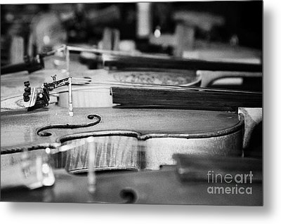 Homemade Handmade Violins Made Of Different Materials And Shape Metal Print by Joe Fox