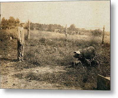 Homer Hunt Tending Pigs, Rockcastle Metal Print by Everett