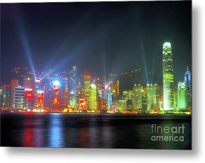 Hong Kong Night Lights Metal Print by Bibhash Chaudhuri