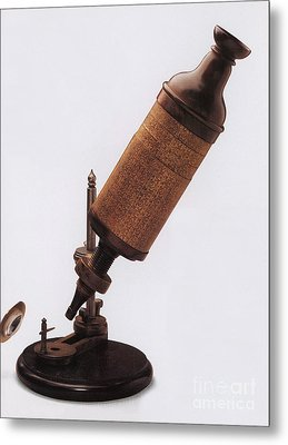 Hookes Microscope Metal Print by Photo Researchers