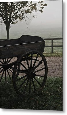 Horse Drawn In The Mist Metal Print by Odd Jeppesen