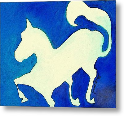 Horse In Blue And White Metal Print by Janel Bragg