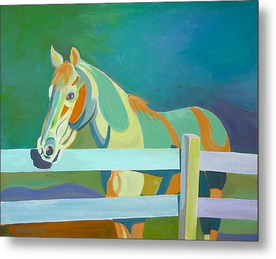 Horse In The Paddock Metal Print by Thierry Keruzore