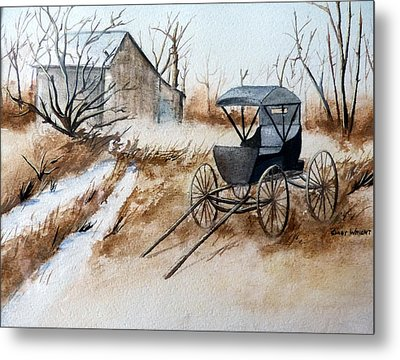 Horsepowered Winter Surrey Painting Metal Print by Cindy Wright