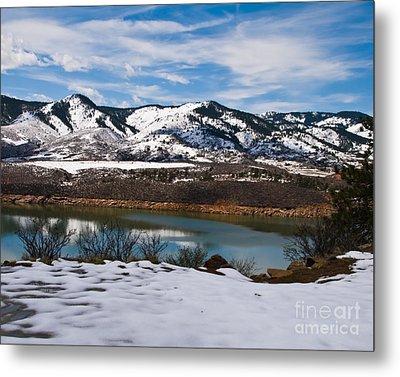 Horsetooth Reservoir Winter Scene Metal Print by Harry Strharsky