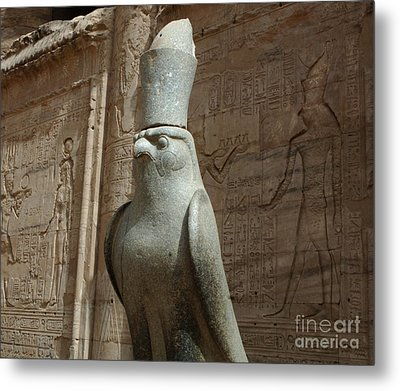 Horus The Falcon At Edfu Metal Print by Bob Christopher
