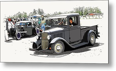 Hot Rod Show Trucks Metal Print by Steve McKinzie