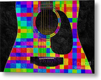 Hour Glass Guitar Random Rainbow Squares Metal Print by Andee Design