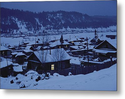 Houses In The Snow At Dusk Metal Print by Dean Conger