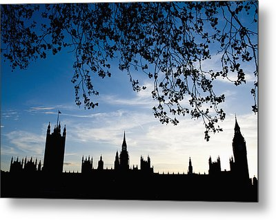 Houses Of Parliament Silhouette Metal Print by Axiom Photographic