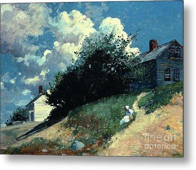 Houses On A Hill Metal Print by Winslow Homer