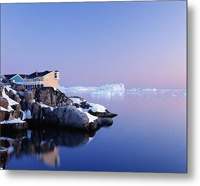 Houses On The Coastline With Icebergs Metal Print by Axiom Photographic
