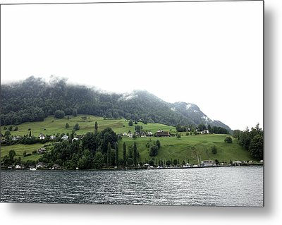 Houses On The Greenery Of The Slope Of A Mountain Next To Lake Lucerne Metal Print by Ashish Agarwal