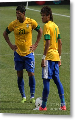 Hulk And Neymar Ready For The Shot Metal Print by Lee Dos Santos